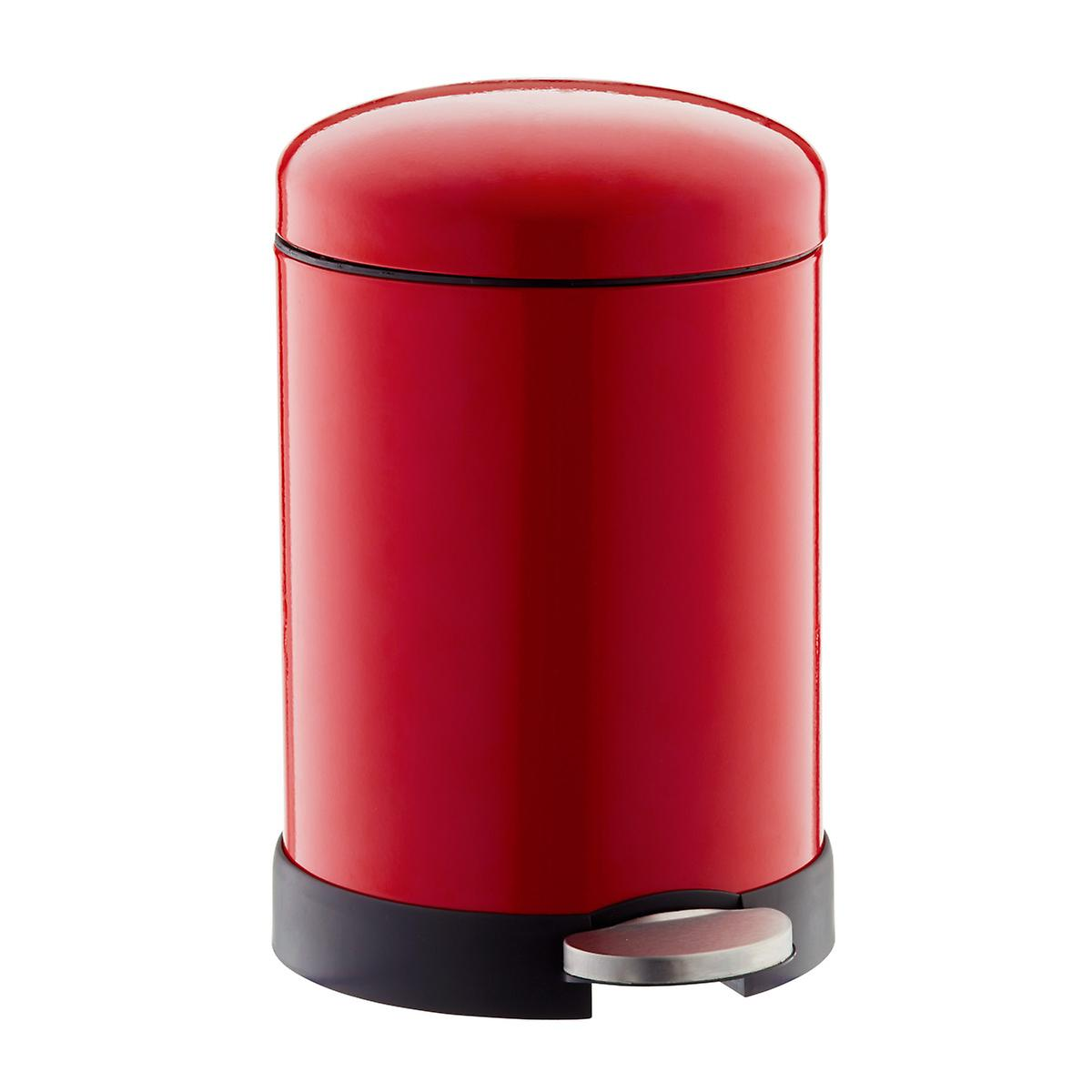 Red 1.3 gal. Glossy Round Retro Step Trash Can