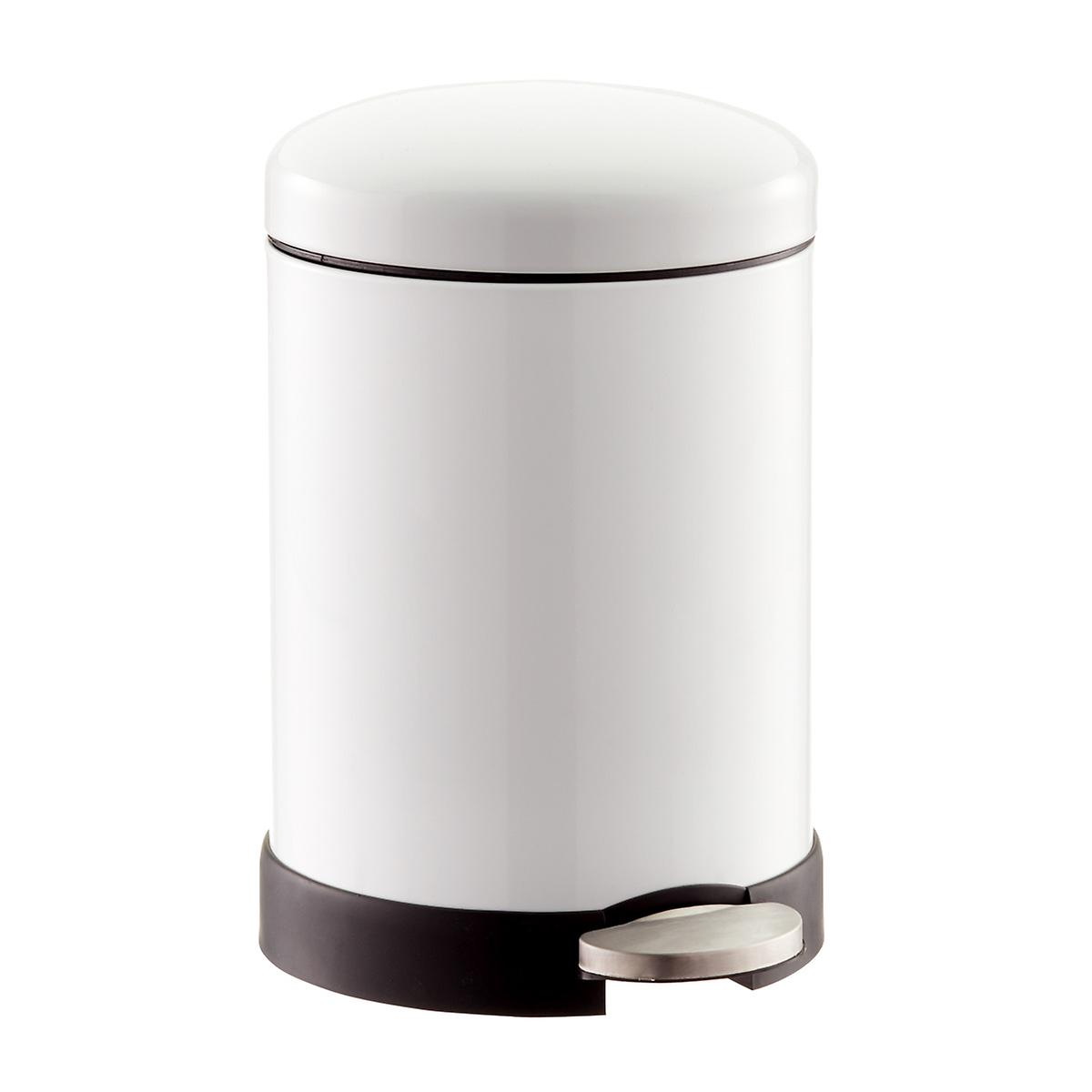 White 1.3 gal. Glossy Round Retro Step Trash Can
