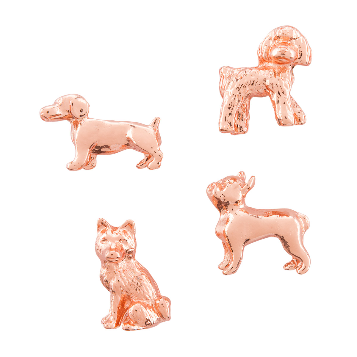 Three by Three Copper Dog Cast Iron Magnets