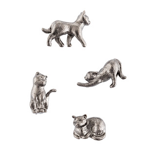 Three by Three Gunmetal Cat Cast Iron Magnets