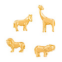 Three by Three Gold Safari Animal Cast Iron Magnets