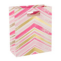 Large Hot Pink & Gold Chevron Painted Gift Bag