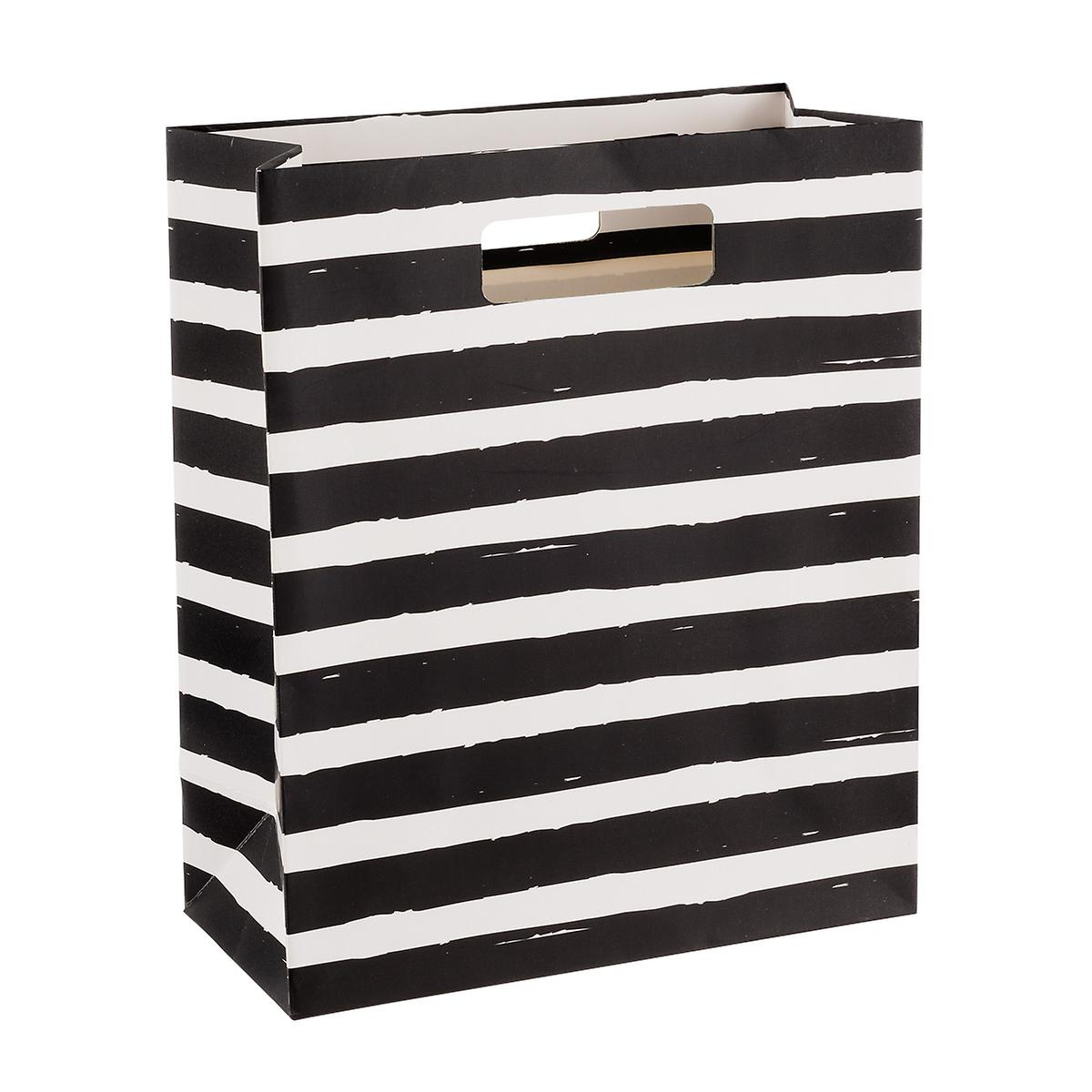 Painterly Black Stripes Gift Bag