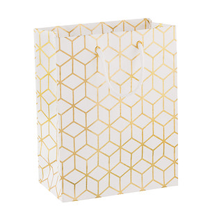 Medium White & Gold Geometric Gift Bag