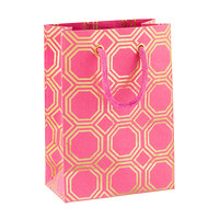 Small Pink & Gold Foil Honeycomb Recycled Gift Bag