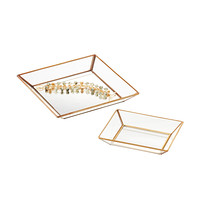 Three by Three Mirrored Glass Jewelry Trays