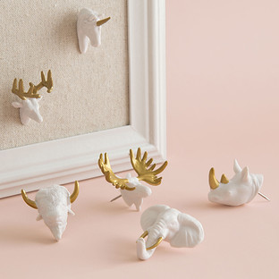 U-Brands Gold & White Animal Head Push Pins