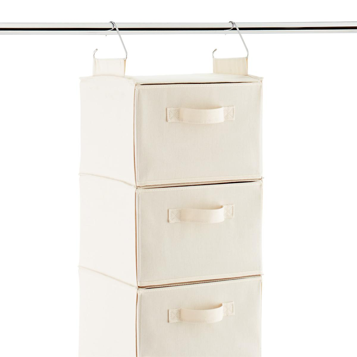 3 Amp 6 Compartment Natural Canvas Hanging Sweater Organizer Drawer The Container Store