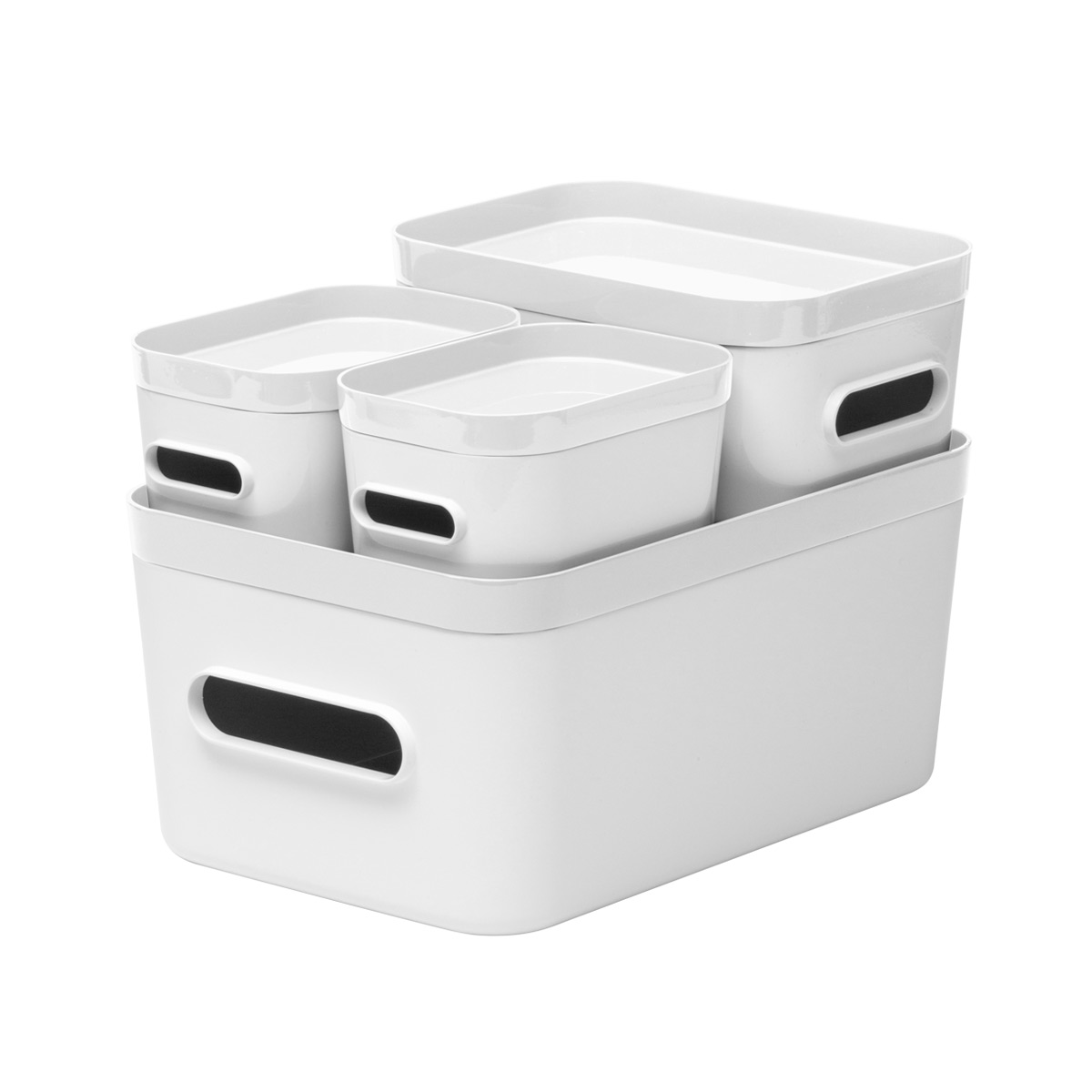 Smart Store White Compact Plastic Bins 4-Pack with White Lids