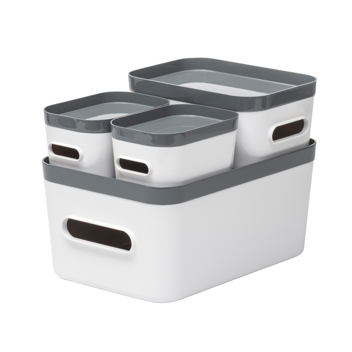 White Compact Plastic Bins 4 Pack With Grey Lids