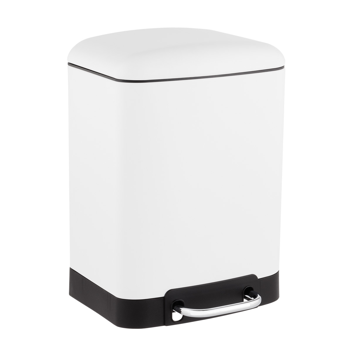 White Rectangle Step Trash Can
