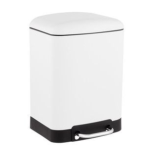 1.5 gal. White Rectangle Step Trash Can
