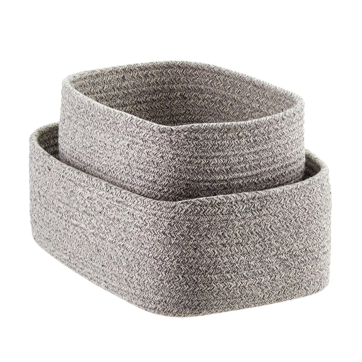 Amazing Grey Laguna Cotton Fabric Storage Bins ...