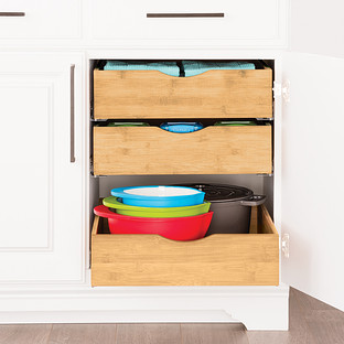 Cabinet Organizers Kitchen Cabinet Storage The Container Store - Sliding shelves for kitchen cabinets
