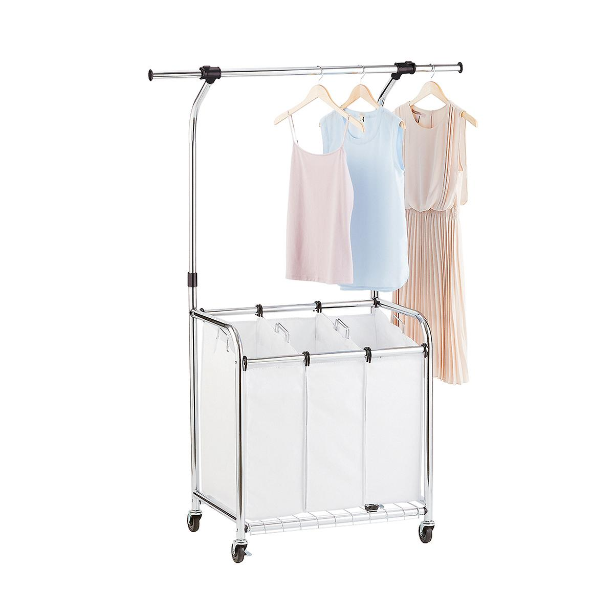 Chrome 3-Bin Premium Rolling Laundry Center with Wheels
