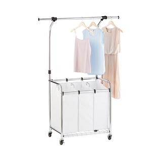 Chrome 3-Bin Premium Laundry Center with Wheels