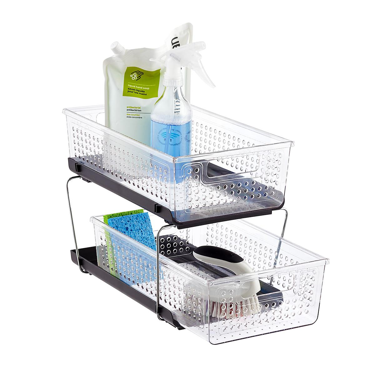 kitchen cabinet caddy madesmart 2 tier divided cabinet organizer the container 18292