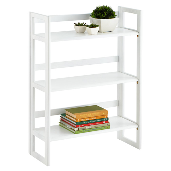 White Solid Wood Stackable Folding Bookcase ...