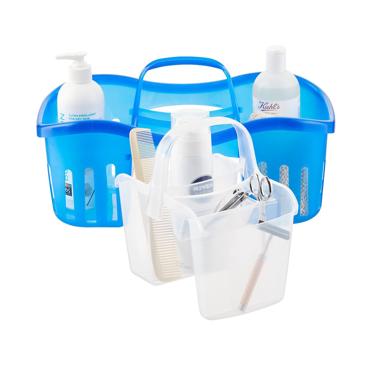 shower caddies shower shelves shower organizers the container casabella blue 2 in 1 shower caddy