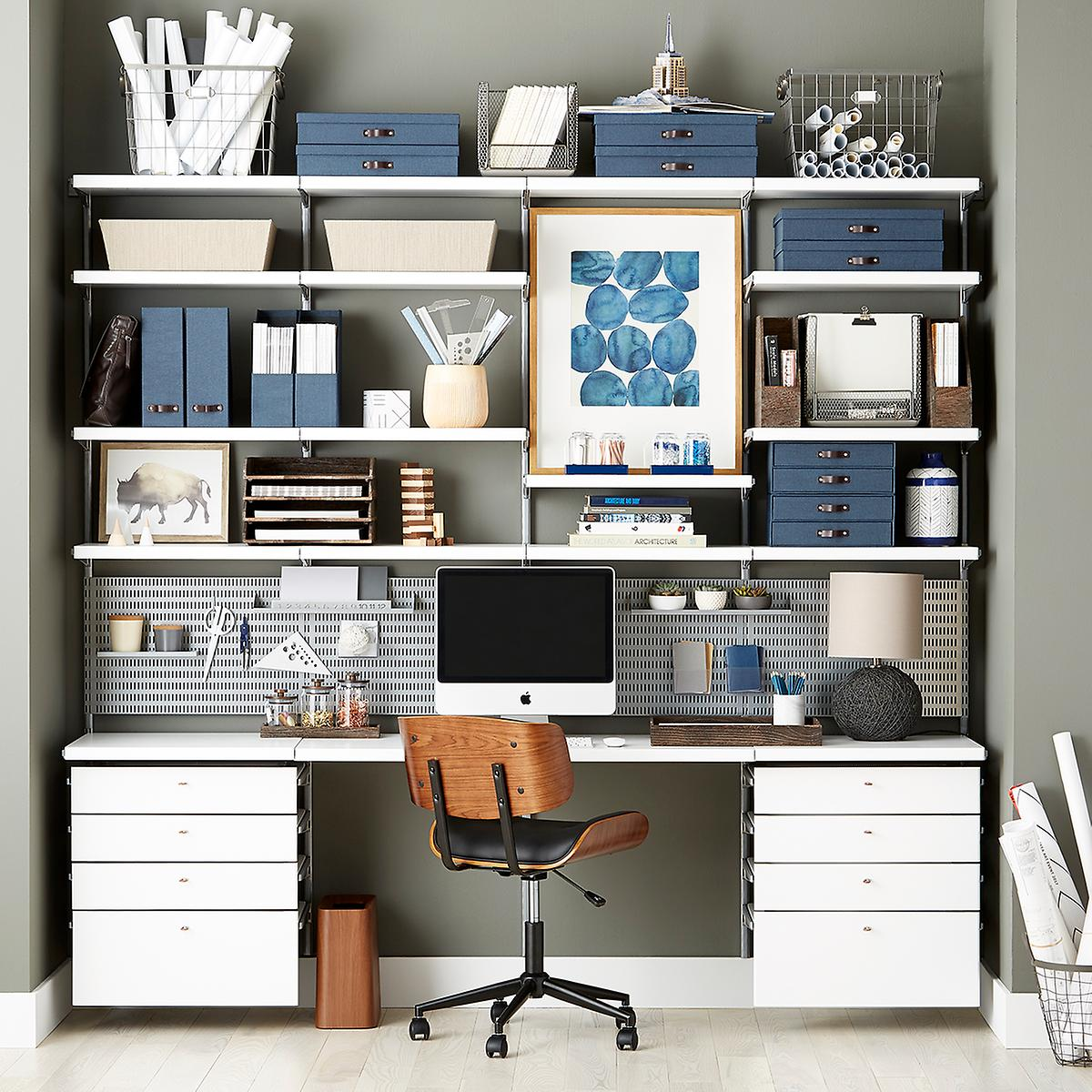 White platinum elfa d cor office the container store - Container store home office ...