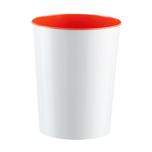 Three by Three Orange Vivid Metal Wastebasket