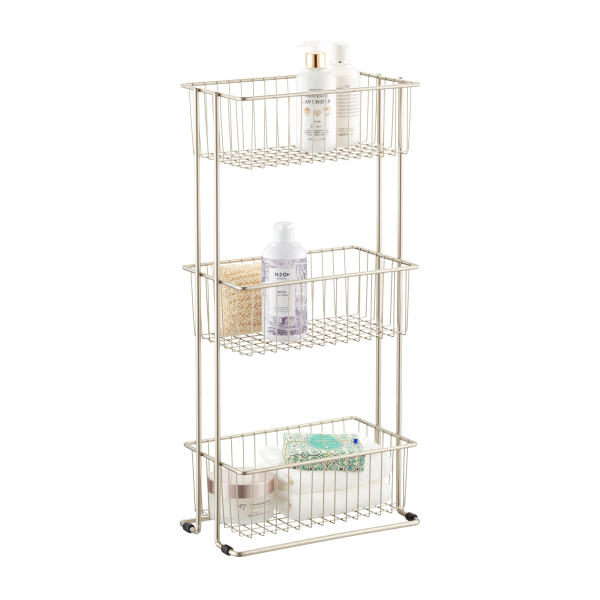 Satin Nickel 3-Tier Shelf Basket Tower
