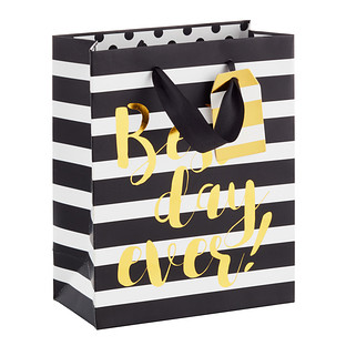 Medium Best Day Ever Striped Gift Bag