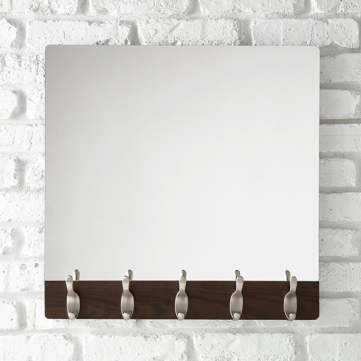 Umbra walnut 5 hook wave mirror the container store for Mirror hooks