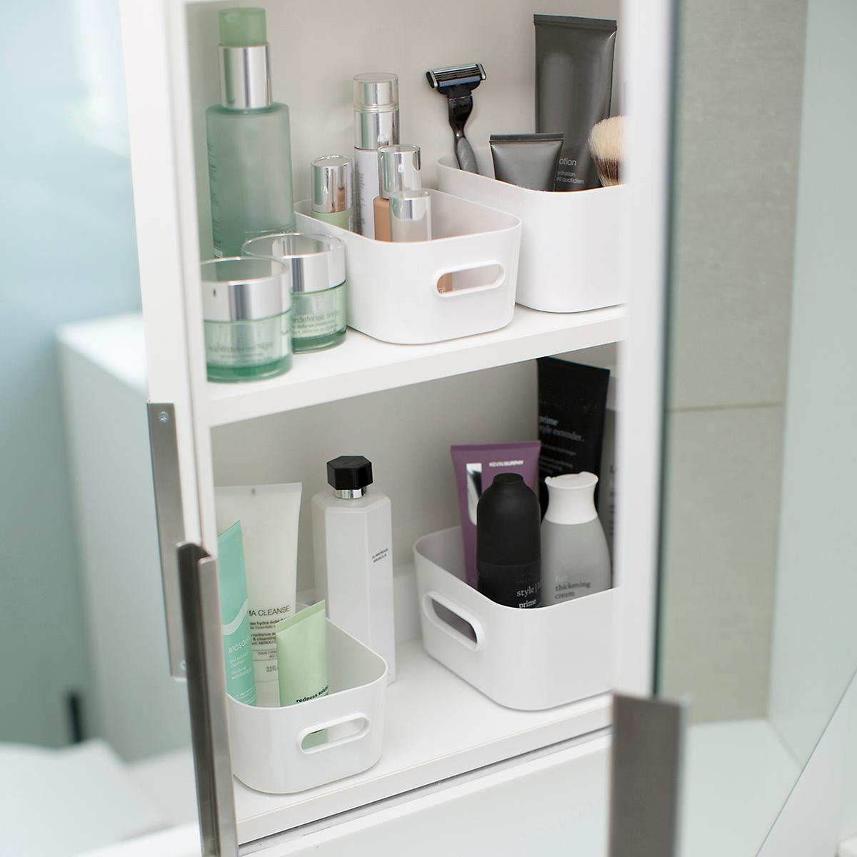 bathroom cabinet storage containers compact plastic modular bins amp lids the container 15587