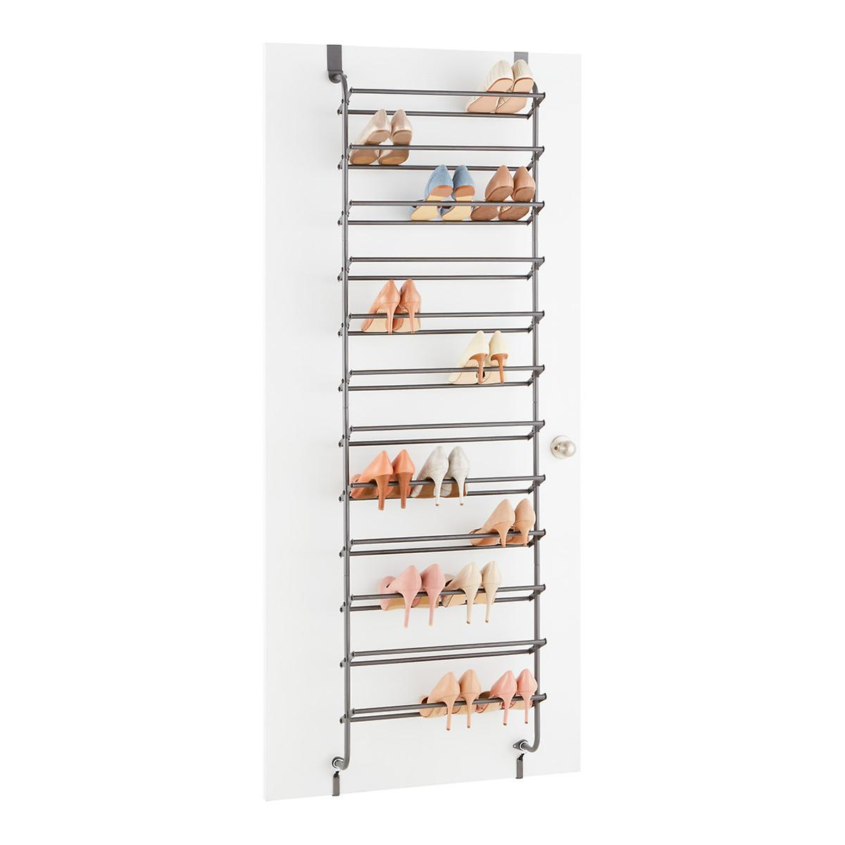 Gunmetal 36 Pair Over The Door Shoe Rack The Container Store