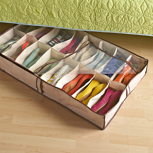 Tweed 16-Pair Under Bed Shoe Organizer