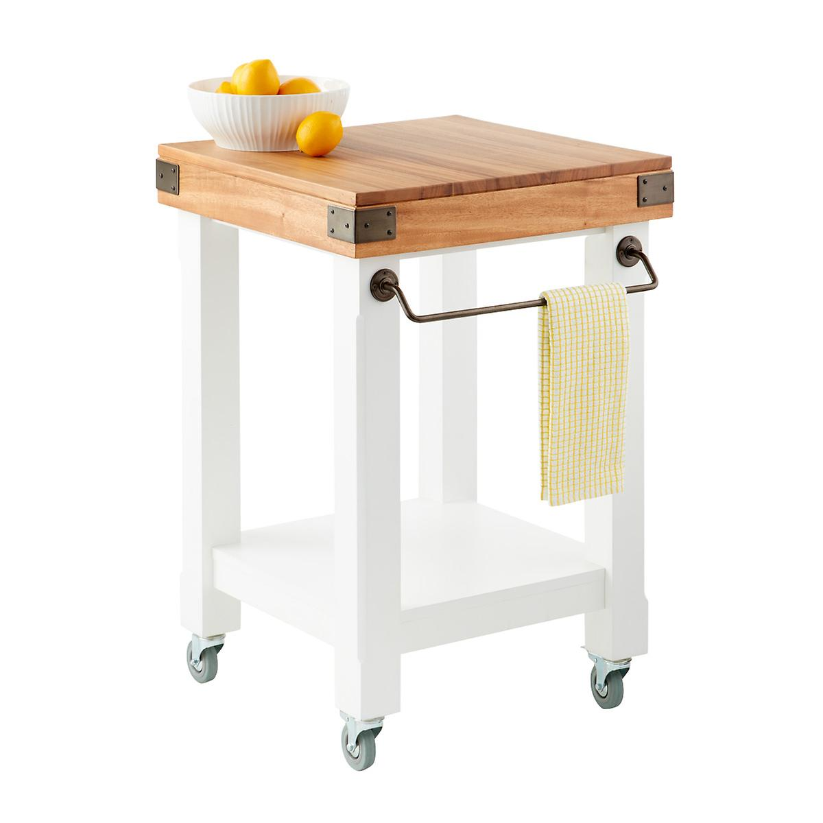 Butcher Block Rolling Kitchen Island Cart | The Container Store