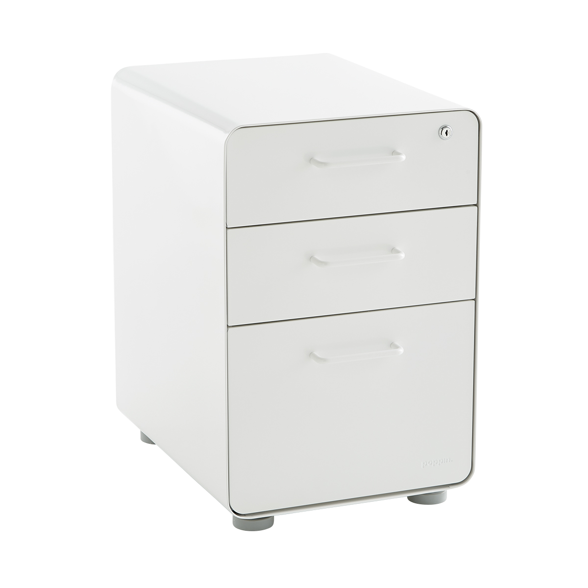 White Poppin 3 Drawer Stow File Cabinet