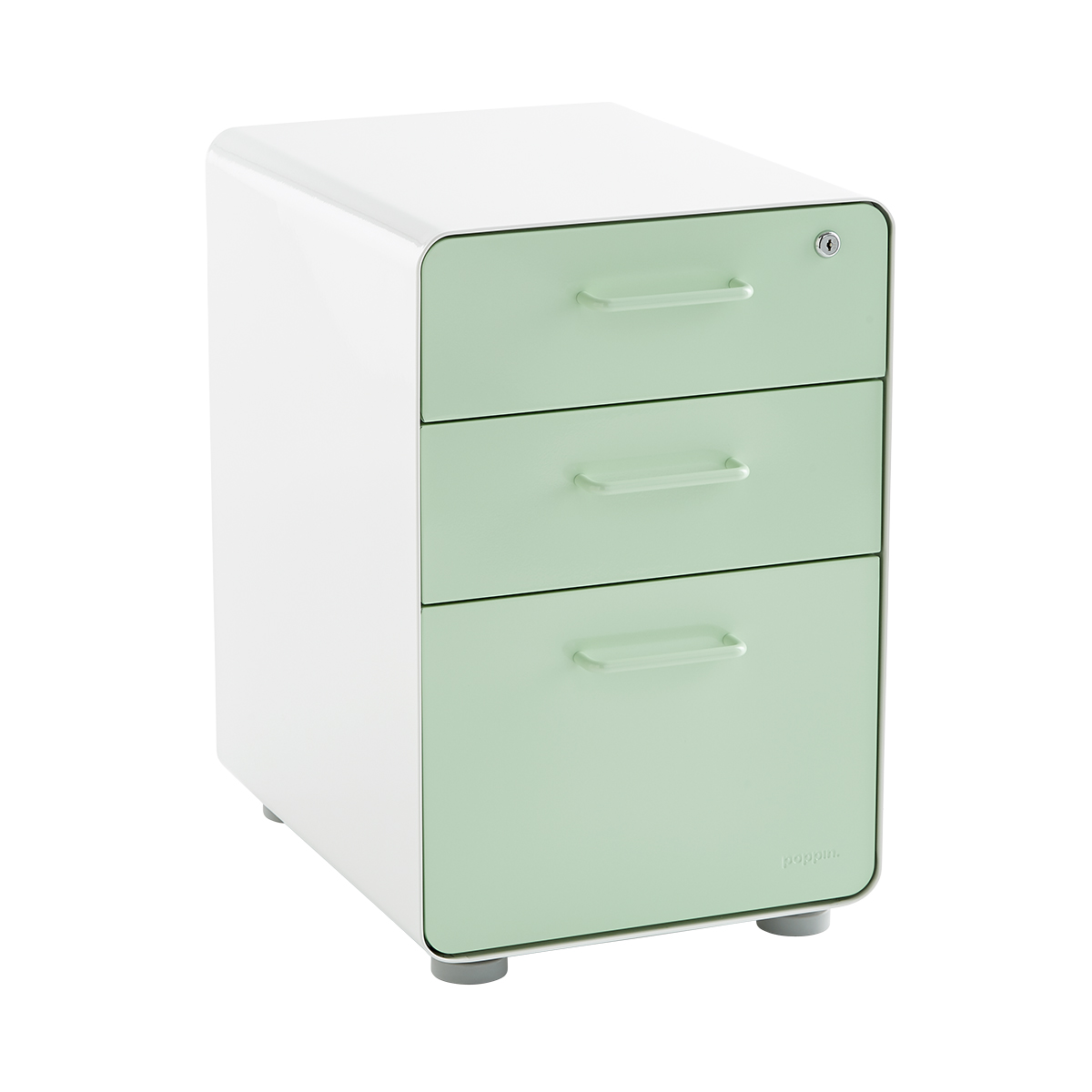 Poppin Mint 3-Drawer Locking Stow Filing Cabinet | The Container Store