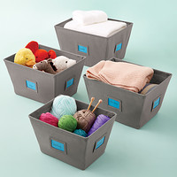Grey Open Canvas Bins
