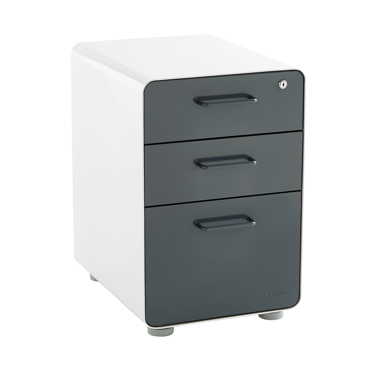Genial Poppin Dark Grey 3 Drawer Locking Stow Filing Cabinet