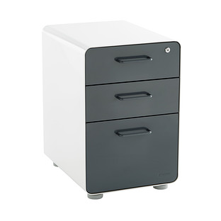 Dark Grey Poppin 3-Drawer Locking Stow Filing Cabinet