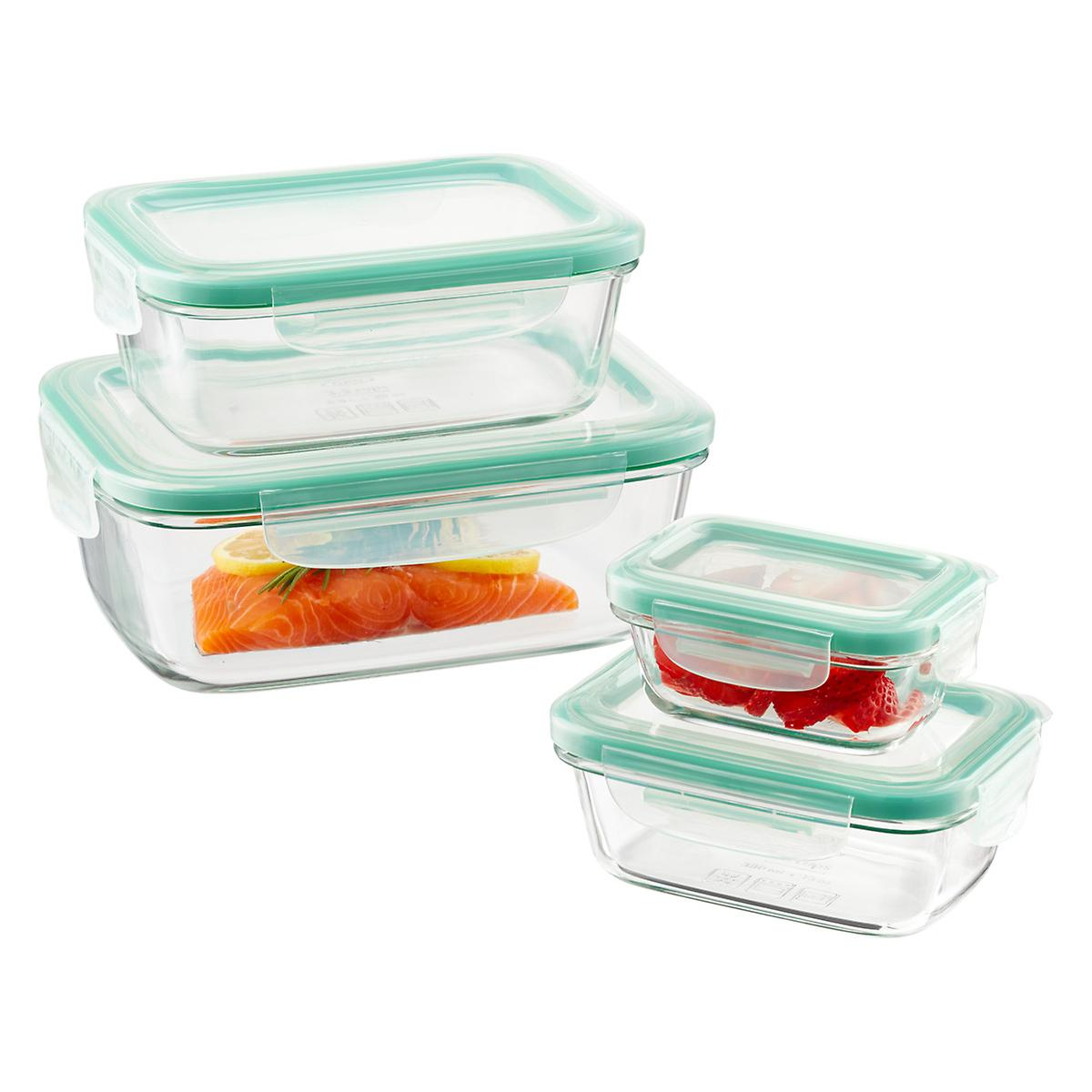 OXO Good Grips 8 Piece Smart Seal Rectangular Glass Food Storage Set