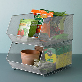 Silver Mesh Stackable Storage Bins & Modular Storage Bins | The Container Store