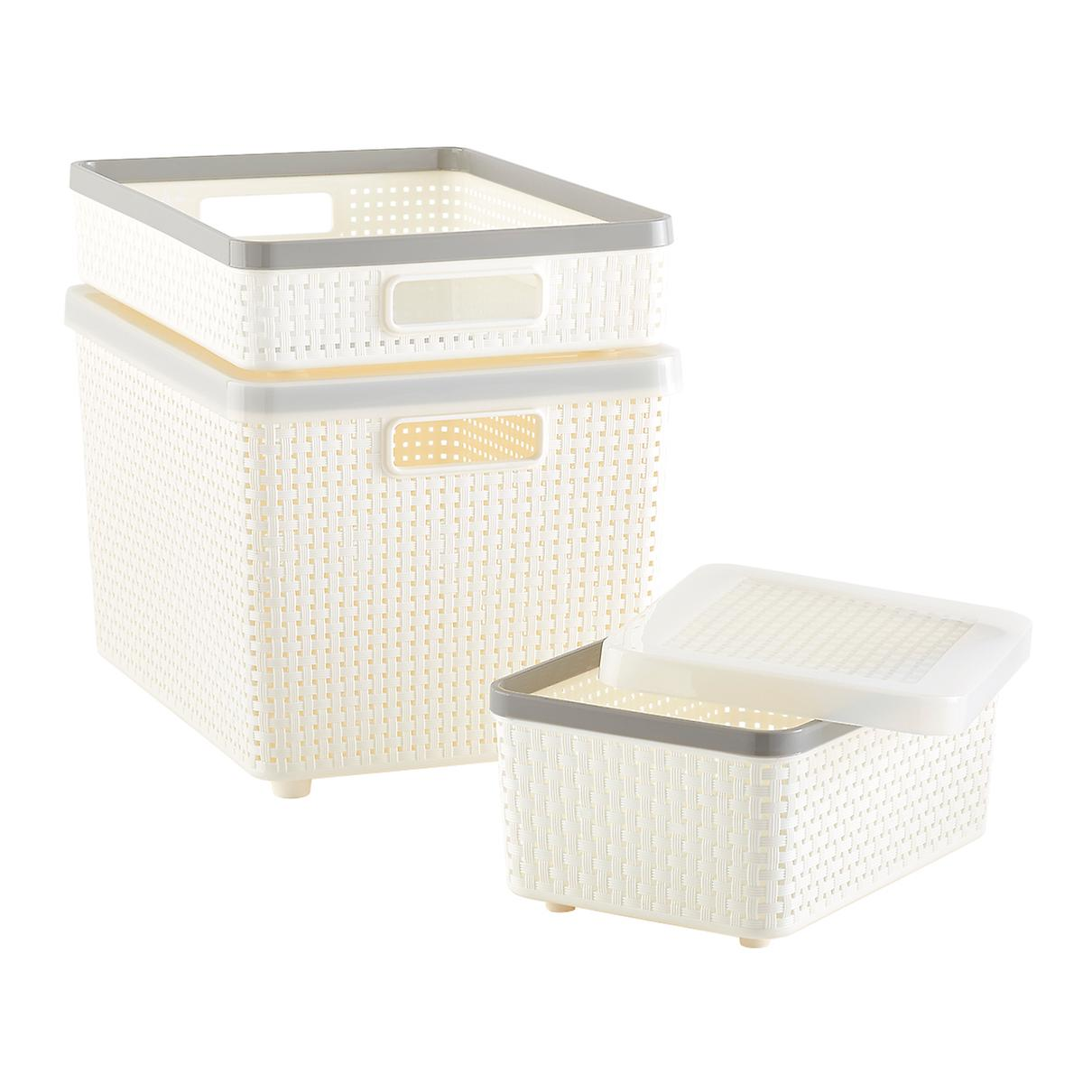 woven bins ivory cottage woven storage bins the. Black Bedroom Furniture Sets. Home Design Ideas