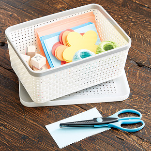 Ivory Banded Woven Bins