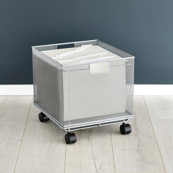 Silver Mesh Stackable File Crate
