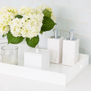 White Lacquered Serving Tray with Handles