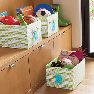 Green Gingham Storage Bin with Handles