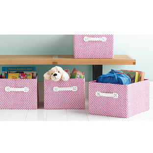 Pink Gingham Storage Bin with Handles