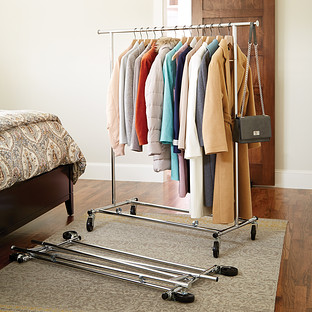 Clothes Rack Chrome Metal Folding Commercial Clothes