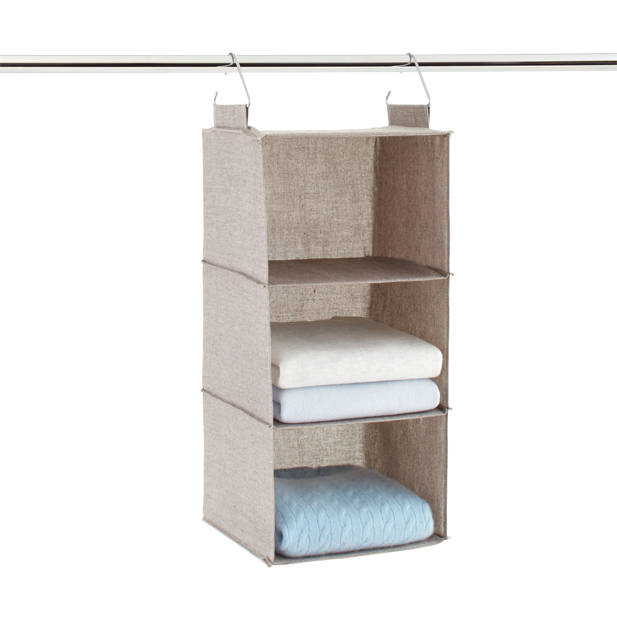 grey 3 compartment hanging sweater organizer the container store rh containerstore com hanging sweater organizer whitmor hanging sweater shelves