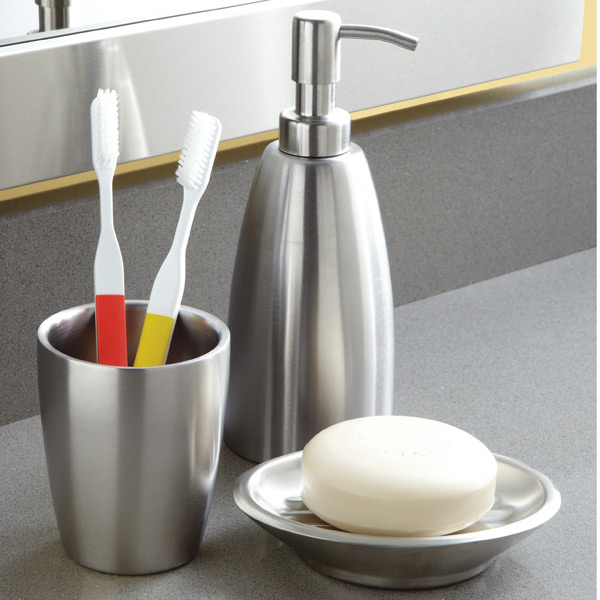 iDesign Forma Stainless Steel Countertop Bathroom Set