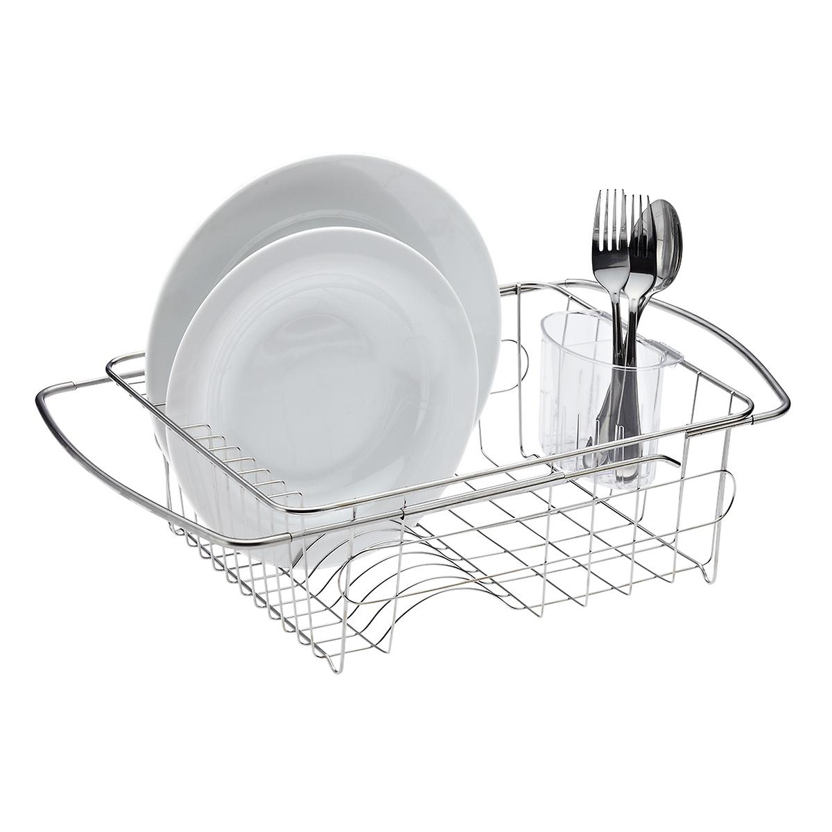 stainless steel in sink dish drainer the container store. Black Bedroom Furniture Sets. Home Design Ideas