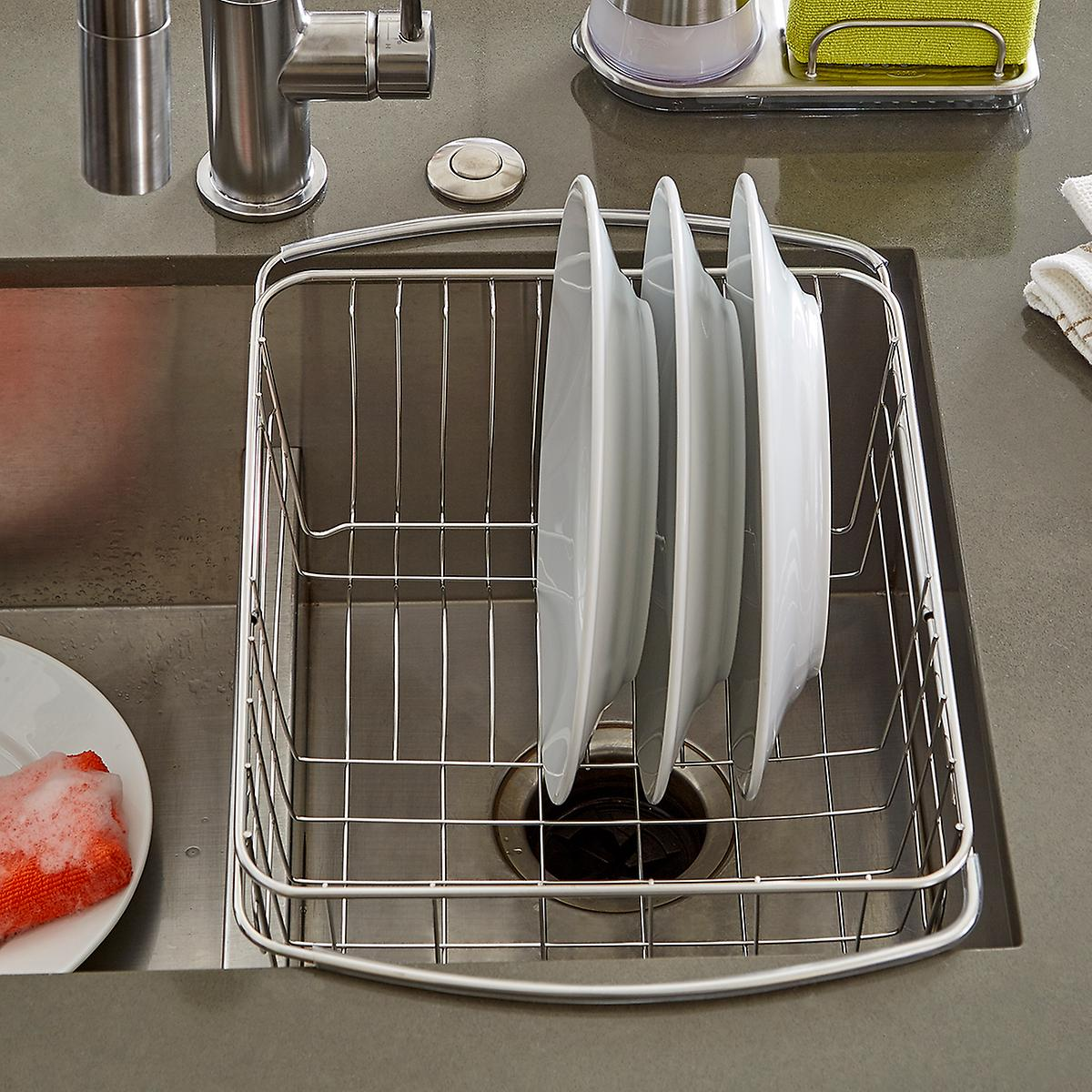 Stainless steel in sink dish drainer the container store - Dish rack for small space collection ...